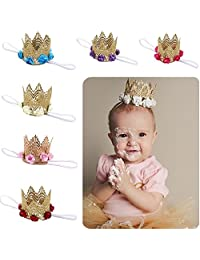 Love Sweety Baby Rose Flower Gold Lace Crown Headband 1st Birthday Hair Accessories