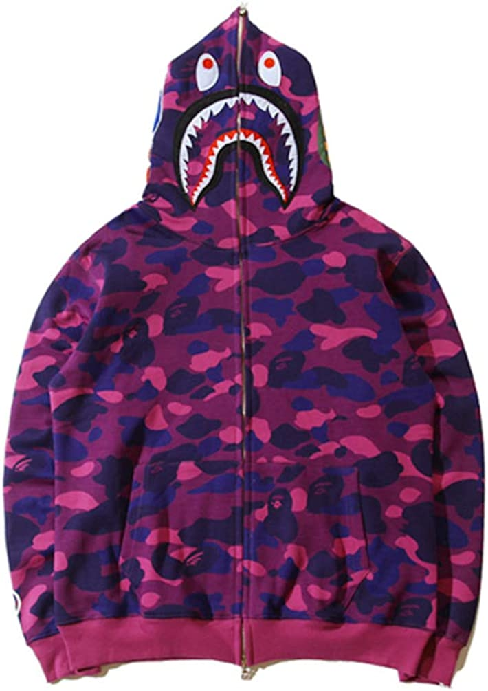 Shark Jaw Camo Full Zipper Hoodie Men's Woman Sweats Coat Jacket Thicken