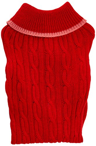 Ethical Pet Fashion Pet Classic Cable Dog Sweater, Rojo, Mediano