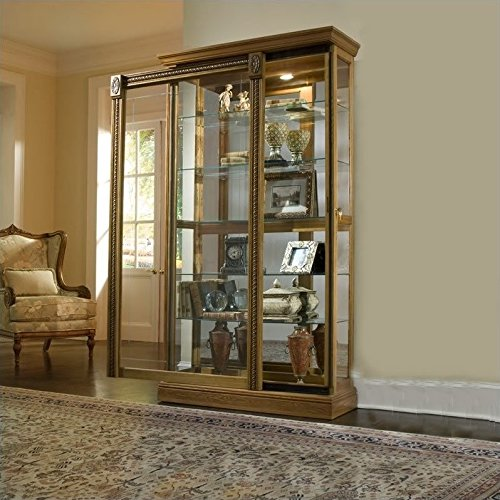 (Pulaski Two Way Sliding Door Curio, 43 by 17 by 80-Inch, Medium Brown)