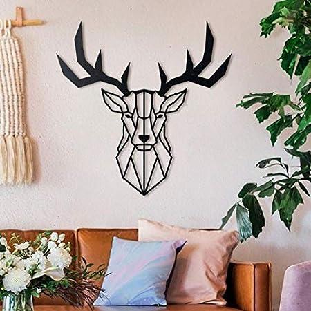 Bekata Geometric Deer Head Metal Wall Art Metal Wall Decoration For Home Office Living Room Bedroom 70 cm x 70 cm Small Size: 27.55/'/' x 27.55/'/'
