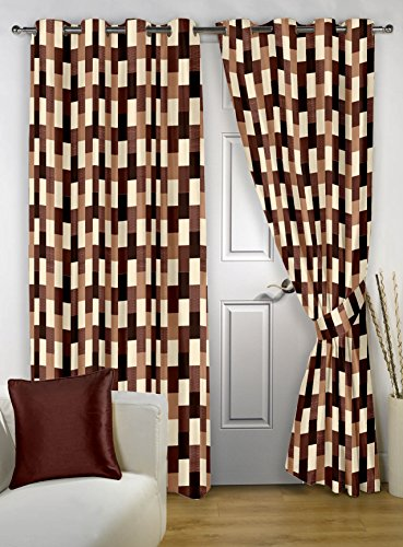 Story@Home Fancy Designer Ringtop Checkered 2-Piece Eyelet Polyester Door Curtain Set – 7ft