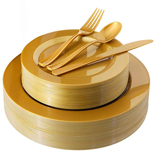 180 Pieces Gold Plastic Plates, Premium Heavyweight Gold Disposable Silverware include: 36 Dinner Plates 10.25