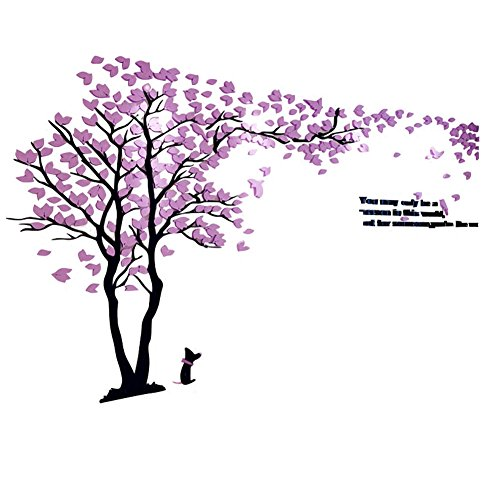 XMSJSIY 3D Wall Decals Trees Wall Murals DIY Wall Stickers Acrylic for Tv Setting Wall Sofa Setting Wall for Home Decor Wall decor-79 inch Tall (Large 3.5x2.0 m, Purple)