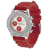 Geneva Women's Platinum Rhinestone-accented Silicone Watch