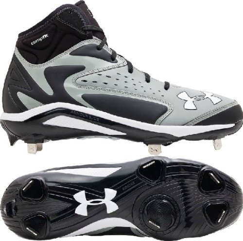 Under Armour Mens Yard Mid ST Metal Baseball Cleats Grey Black Size 9 c7a16864138