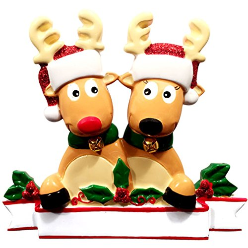 Personalized Reindeer Family of 2 Christmas Tree Ornament 2019 - Cute Couple Deer Glitter Santa Hat Real Bell Tradition Sibling Rudolph Red Nose Holiday Winter Gift Year - Free Customization (Two)
