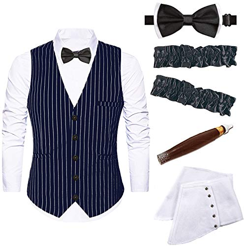 Mens 1920s Accessories Gangster Stripe Vest Set - Gangster Spats,Armbands,Pre Tied Bow Tie,Toy Fake Cigar (Large, -