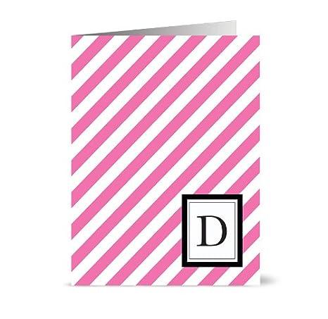 Amazon.com: Moderno Diagonal Rayas Monogram – 24 – Tarjetas ...