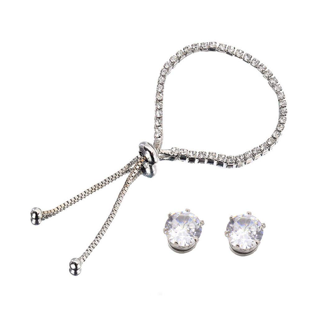 DaoAG-Accessories Silver Charm Bracelets with Earings Diamond Bracelets Adjustable Bangle Bracelets for Women /& Girls