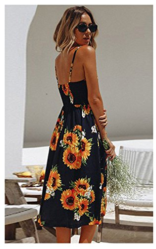 sunflower Summer Spaghetti Womens Swing Strap Midi Pockets Bohemian Floral TinyChic Sleeveless Dress UPWng5qRI