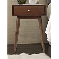 Elle Decor Rory One Drawer Side Table, Modern Amber