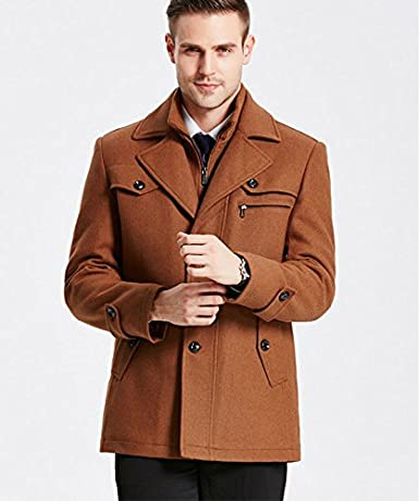 HZCX FASHION Mens Attachable Quilted Lined Wool Blend Pea Coat