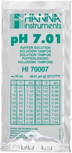 Hanna Instruments HI 70007P Buffer Solution, 7.01 pH, 20mL Sachet, Pack of ()