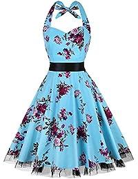 Women's Vintage Polka Dot Halter Dress 1950s Floral Sping Retro Rockabilly Cocktail Swing Tea Dresses