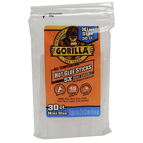 Gorilla 3023003 Hot Glue Sticks 4 In. Mini Size, 30Count