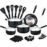 all ceramic cookware - HULLR Aluminum Ceramic Nonstick All In One Kitchen Cookware Set Includes Stock Pot, Dutch Oven, Frying/Sauté Pan, Saucepan, Serving Utensils, Measuring Cups/Spoons, Induction Base (30 Ct) Black