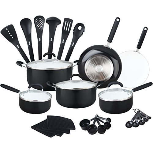 Lightweight Cookware (HULLR Aluminum Ceramic Nonstick All In One Kitchen Cookware Set Includes Stock Pot, Dutch Oven, Frying/Sauté Pan, Saucepan, Serving Utensils, Measuring Cups/Spoons, Induction Base (30 Ct) Black)