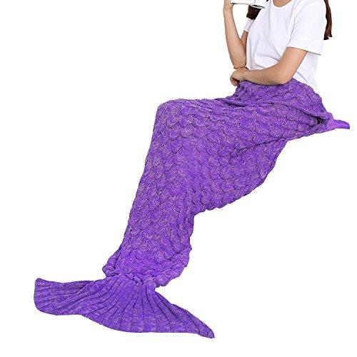 BATTOP Mermaid Schwanz gestrickten Decke für Erwachsene- (Fisch-Skala-Stil, lila)