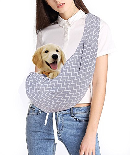 Hands-free Adjustable Pet Sling Carrier Shoulder Bag Strap Reversible for Small Medium Cats Dogs By BuBinga(Strip)