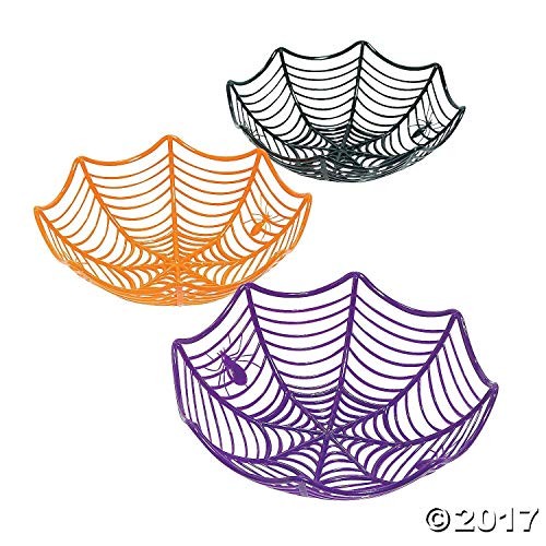 Fun Express Plastic Spider Web Multicolor Candy Bowls | 2-Pack (6 Count) | Great for Halloween-Themed Parties | Children Age 3+ by Fun Express