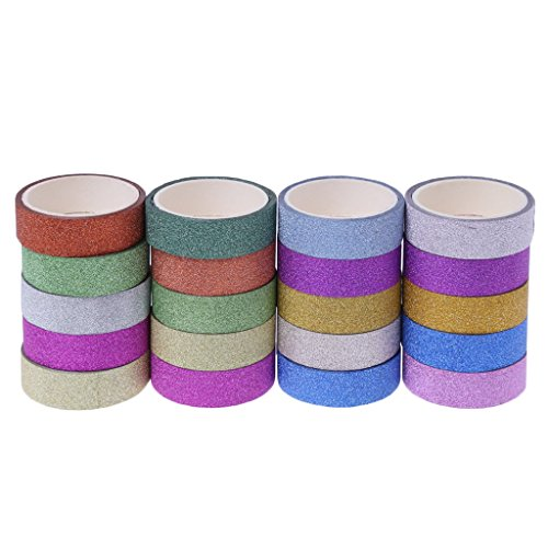 SQLang 10Pcs/Set Glitter Washi Tape, Washi Masking DIY Scrapbook Decor Paper Adhesive Sticker