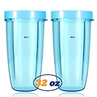 Replacement Blender Cups for NutriBullet Brand Accessories 600w 900w (32oz, Light Blue Lip Rings)