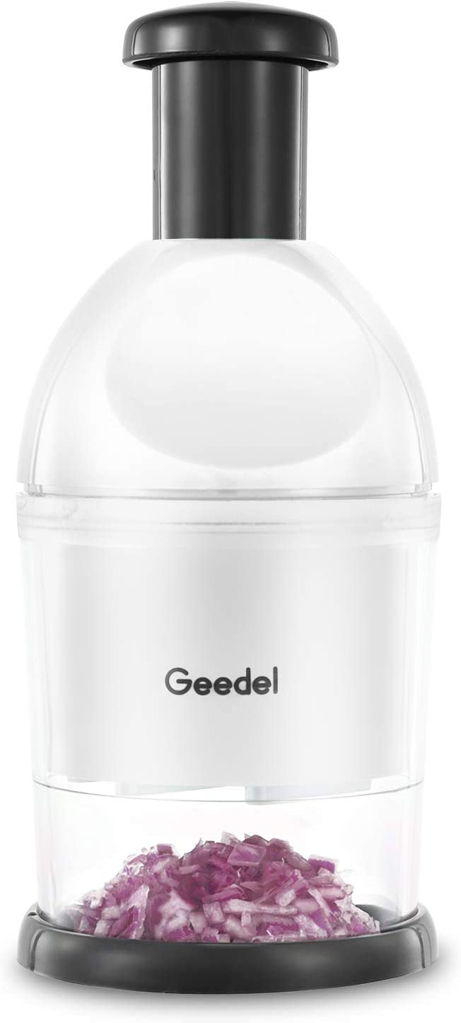 Geedel Food Chopper, Easy to Clean Manual Hand Chopper Dicer, Slap Press Chopper Mincer for Vegetables Onions Garlic Nuts Salads and More - Save Your Prep Time