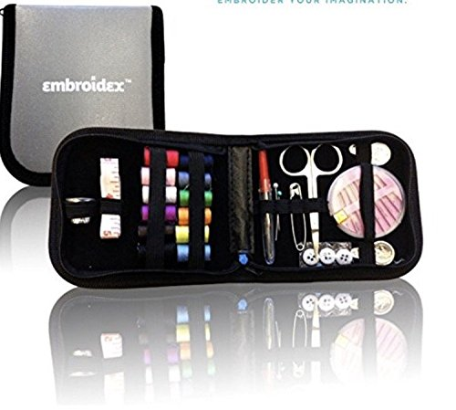 Embroidex Sewing Kit for Home, Travel & Emergencies – Filled with Quality Notions Scissor & Thread – Great Gift