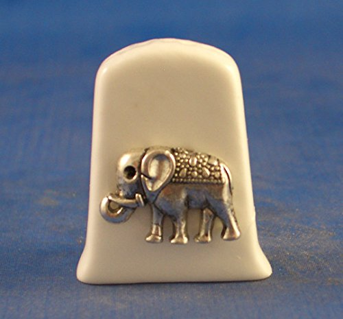 Birchcroft Porcelain China Collectable Thimble - Antique Silver Elephant Birchcroft China