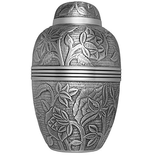 Silver Funeral Urn by Liliane Memorials – Cremation Urn for Human Ashes – Hand Made in Brass – Suitable for Cemetery Burial or Niche – Large Size fits Remains of Adults up to 200 lbs – Argent Model