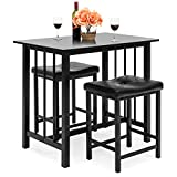 Best Choice Products Kitchen Marble Table Dining Set w/ 2 Counter Height Stools (Black)