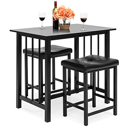 (Best Choice Products Kitchen Marble Table Dining Set w/ 2 Counter Height Stools (Black))