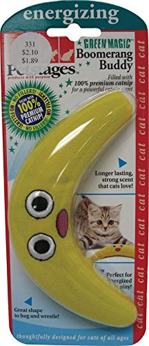 Boomerang Catnip Toy Fetch and Bat Toy for Cats, Green Magic Boomerang by ()