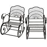 F2C Pack of 2 Backyard Metal Iron Rocking Chair with Arms/Back Outdoor Porch Seat Glider Rocker (2)