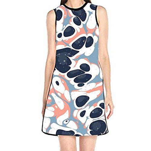 Liquid Lifeforms Printed Loose Sundress Sleeveless Summer T-Shirt Dress for Womens - Liquid Jersey Dress