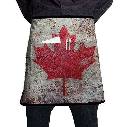 Vicrunning Grunge Canada Flag Aprons Bib For Mens Womens Cosmetology Lace Adjustable Adult Half Black Kitchen Waiter Aprons With (Halloween Beards Canada)