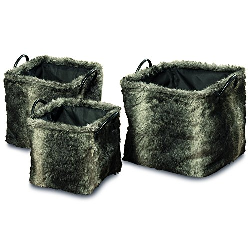 Tribeca Black Shoes - The Tribeca Faux Fur Square Storage Baskets, Gray Ombre, Set of 3, Black Leather Handles, Luxurious Fluffy Soft Polyester, Flat Bottoms, 11-15 Inches, By Whole House Worlds