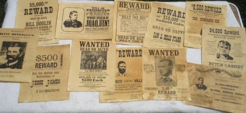 Set of 12 Reproduction Old West Wanted Reward ()