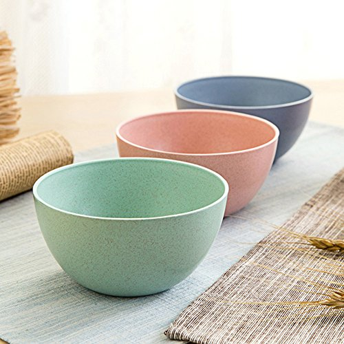 Golandstar Eco Friendly Healthy Wheat Straw Plastic Bowl for Rice,Noodles,Soup, Popcorn, Fruit, Salad,Ice Cream,Cereal Dinner Party Bowls 3pcs Set (3pcs, Blue, Green, Pink) by Golandstar