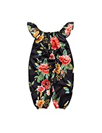 Camidy Baby Toddler Girl Flower Ruffle Sleeve Off Shoulder Romper Kid Jumpsuit Clothes