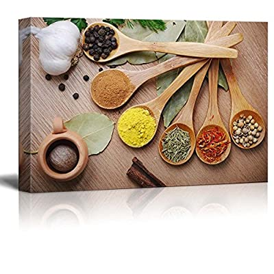 Made With Top Quality, Wonderful Handicraft, Still Life Various of Spices in Wooden Spoon Food Kitchen Concept Wall Decor