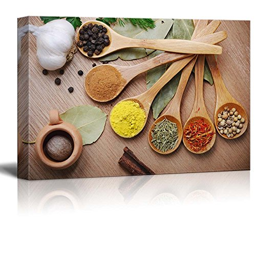 Still Life Various of Spices in Wooden Spoon Food Kitchen Concept Wall Decor ation