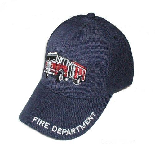Childs Fire Fighter / Fireman Department Cap Hat W/ 3-D Truck Engine - Dk Blue