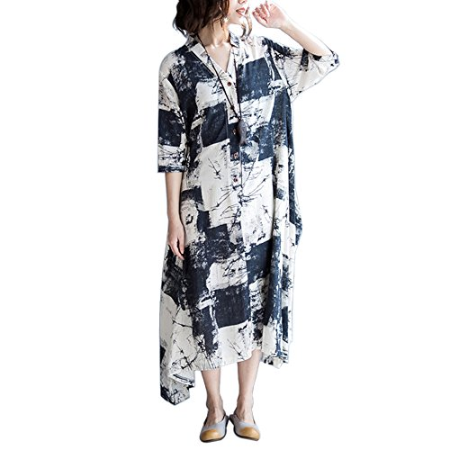 SIMSHION Womens Fashion Floral Printed Vintage Button Front 3/4 Sleeve Maxi Long Dress Floral L (Sleeve Button Front Dress)