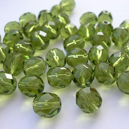 Czech Faceted Round Olive - 20 pcs of 8 mm Czech Fire Polished Faceted Round Glass Bead, Olive Green