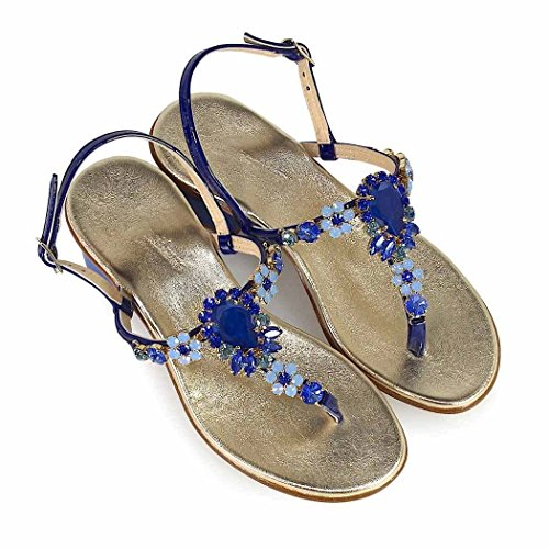 2018 Swarovski Sandalia Mujer Verano Primavera Medio Zapatos Talón de Positano Giallo Azul SU7Zw6q