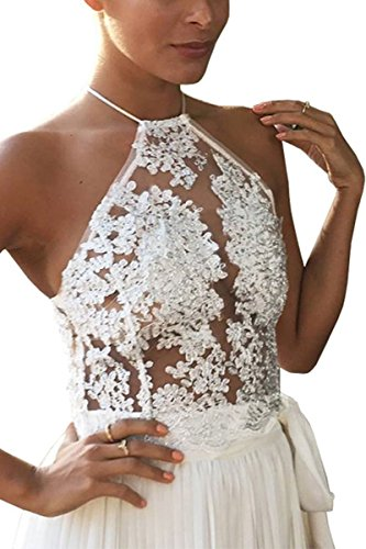 Simplee Apparel Women's Halter Neck Tank Crop Top Sleeveless Lace Vest Bustier White, Small (Halter White Apparel)