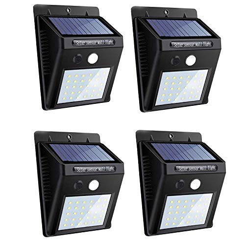 - Solar Lights Outdoor, 30 LED Wireless Waterproof Motion Sensor Outdoor Lights with 3 Working Mode for Patio, Deck, Yard, Garden (4 Pack)