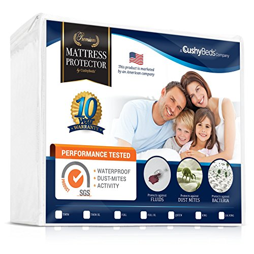 """Premium Mattress Protector Cover by CushyBeds - Lab Tested 100% Waterproof, Hypoallergenic, Breathable Cool Flow, Noiseless, No Crinkling, Allergy & Vinyl Free - Queen Size Bed (Up to 18"""" Deep Pocket)"""